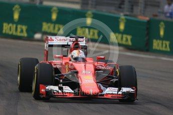 World © Octane Photographic Ltd. Scuderia Ferrari SF15-T– Sebastian Vettel. Friday 18th September 2015, F1 Singapore Grand Prix Practice 1, Marina Bay. Digital Ref: