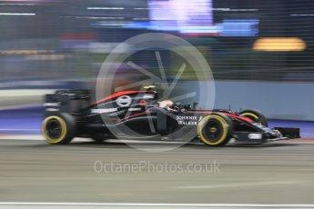 World © Octane Photographic Ltd. McLaren Honda MP4/30 - Jenson Button. Friday 18th September 2015, F1 Singapore Grand Prix Practice 2, Marina Bay. Digital Ref: 1429CB5D0384