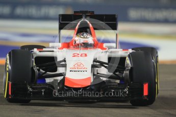 World © Octane Photographic Ltd. Manor Marussia F1 Team MR03B – William Stevens. Friday 18th September 2015, F1 Singapore Grand Prix Practice 2, Marina Bay. Digital Ref: 1429CB7D0312