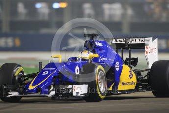 World © Octane Photographic Ltd. Sauber F1 Team C34-Ferrari – Marcus Ericsson. Friday 18th September 2015, F1 Singapore Grand Prix Practice 2, Marina Bay. Digital Ref: 1429CB7D0441
