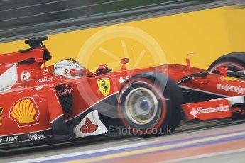 World © Octane Photographic Ltd. Scuderia Ferrari SF15-T– Sebastian Vettel. Friday 18th September 2015, F1 Singapore Grand Prix Practice 2, Marina Bay. Digital Ref: