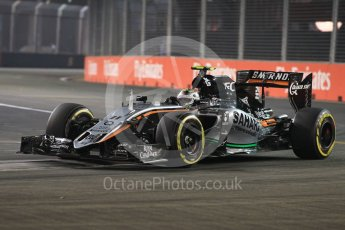 World © Octane Photographic Ltd. Sahara Force India VJM08B – Sergio Perez. Friday 18th September 2015, F1 Singapore Grand Prix Practice 2, Marina Bay. Digital Ref: 1429LB1L9759