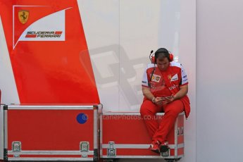 World © Octane Photographic Ltd. Scuderia Ferrari mechanic. Wednesday 13th May 2015, F1 In-season testing, Circuit de Barcelona-Catalunya, Spain. Digital Ref: 1269CB7D2200