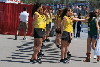 World © Octane Photographic Ltd. Grid Girls. Saturday 9th May 2015, F1 Spanish GP Qualifying, Circuit de Barcelona-Catalunya, Spain. Digital Ref: 1257CB7D8382