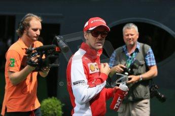 World © Octane Photographic Ltd. Scuderia Ferrari SF15-T– Sebastian Vettel. Sunday 10th May 2015, F1 Spanish GP Formula 1 Paddock, Circuit de Barcelona-Catalunya, Spain. Digital Ref: 1264LB1D0070