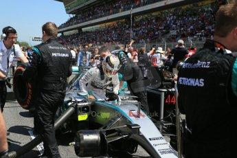 World © Octane Photographic Ltd. Mercedes AMG Petronas F1 W06 Hybrid – Lewis Hamilton. Sunday 10th May 2015, F1 Spanish GP Formula 1 Grid, Circuit de Barcelona-Catalunya, Spain. Digital Ref: 1264LB1D0220