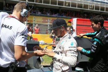 World © Octane Photographic Ltd. Mercedes AMG Petronas F1 W06 Hybrid – Lewis Hamilton. Sunday 10th May 2015, F1 Spanish GP Formula 1 Grid, Circuit de Barcelona-Catalunya, Spain. Digital Ref: 1264LB1D0235