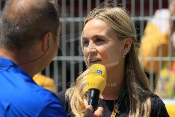 World © Octane Photographic Ltd. Lotus F1 Team Reserve Driver – Carmen Jorda. Sunday 10th May 2015, F1 Spanish GP Formula 1 Grid, Circuit de Barcelona-Catalunya, Spain. Digital Ref: 1264LW1L8406