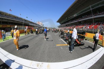 World © Octane Photographic Ltd. Saturday 9th May 2015. The grid. GP2 Race 1 – Circuit de Barcelona–Catalunya. Spain. Digital Ref:
