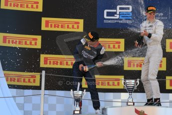 World © Octane Photographic Ltd. Saturday 9th May 2015. ART Grand Prix – Stoffel Vandoorne (1st), Russian Time – Mitch Evans (2nd). GP2 Race 1 – Circuit de Barcelona–Catalunya. Spain. Digital Ref: