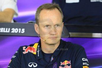 World © Octane Photographic Ltd. Paul Monaghan, Red Bull Racing Chief Engineer. Friday 8th May 2015, F1 Spanish GP. Team Press Conference, Circuit de Barcelona-Catalunya, Spain. Digital Ref: 1254LB7D6732