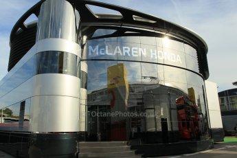 World © Octane Photographic Ltd. McLaren Honda Brand Centre. Thursday 7th May 2015, F1 Spanish GP Paddock, Circuit de Barcelona-Catalunya, Spain. Digital Ref: 1244CB1L5796