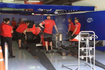 World © Octane Photographic Ltd. Manor Marussia F1 Team in sctrutineering. Thursday 7th May 2015, F1 Spanish GP Pitlane, Circuit de Barcelona-Catalunya, Spain. Digital Ref: 1244CB1L5878