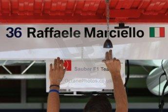 World © Octane Photographic Ltd. Sauber F1 Team Reserve Driver– Raffaele Marciello. Thursday 7th May 2015, F1 Spanish GP Pitlane Circuit de Barcelona-Catalunya, Spain. Digital Ref: 1244CB7D1374