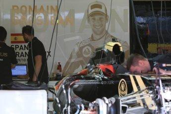 World © Octane Photographic Ltd. Lotus F1 Team E23 Hybrid – Romain Grosjean. Thursday 7th May 2015, F1 Spanish GP Pitlane, Circuit de Barcelona-Catalunya, Spain. Digital Ref: 1244CB7D1393