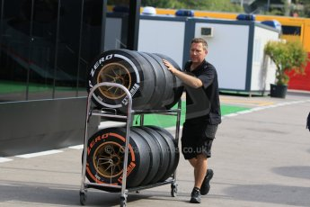 World © Octane Photographic Ltd. Lotus F1 Team wheels and tyres. Thursday 7th May 2015, F1 Spanish GP Paddock, Circuit de Barcelona-Catalunya, Spain. Digital Ref: 1244CB7D1403