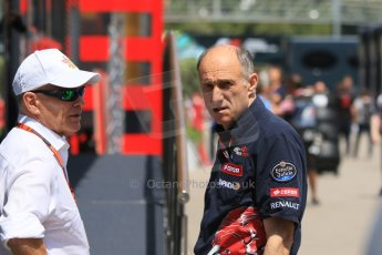 World © Octane Photographic Ltd. Scuderia Toro Rosso – Franz Tost and Peter Winsdor. Thursday 7th May 2015, F1 Spanish GP Paddock, Circuit de Barcelona-Catalunya, Spain. Digital Ref: 1244CB7D1709