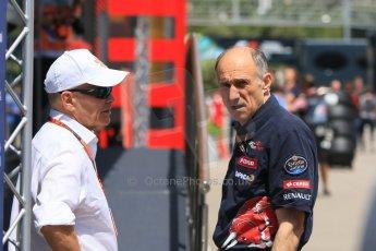 World © Octane Photographic Ltd. Scuderia Toro Rosso – Franz Tost and Peter Winsdor. Thursday 7th May 2015, F1 Spanish GP Paddock, Circuit de Barcelona-Catalunya, Spain. Digital Ref: 1244CB7D1712