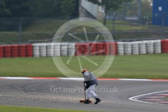 World © Octane Photographic Ltd. FIA World Endurance Championship (WEC), 6 Hours of Nurburgring , Germany - Practice 3, Saturday 29th August 2015. Marshals clearing gravel from the track. Digital Ref : 1395LB1D5317