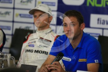 World © Octane Photographic Ltd. FIA World Endurance Championship (WEC), 6 Hours of Nurburgring , Germany - Press Conference, Friday 28th August 2015. KCMG – Nick Tandy and Porsche Team – Marc Lieb. Digital Ref : 1393LB1D3687