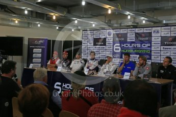 World © Octane Photographic Ltd. FIA World Endurance Championship (WEC), 6 Hours of Nurburgring , Germany - Press Conference, Friday 28th August 2015. Audi Sport Team Joest- Marcel Fassler, Aston Martin Racing – Stefan Mucke, Porsche Team Manthey – Richard Lietz, Toyota Racing – Sebastien Buemi, Porsche Team – Marc Lieb, KCMG – Nick Tandy, Rebellion Racing – Nick Heidfeld, Dempsey-Proton Racing – Marco Seefried. Digital Ref : 1393LB1D3691
