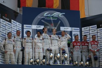 World © Octane Photographic Ltd. FIA World Endurance Championship (WEC), 6 Hours of Nurburgring , Germany – Race podium, Sunday 30th August 2015. Porsche Team – Porsche 919 Hybrid - LMP1 - Timo Bernhard, Mark Webber and Brendon Hartley (1st), Romain Dumas, Neel Jani and Marc Lieb (2nd) and Audi Sport Team Joest- Audi R18 e-tron Quatrro - LMP1 - Oliver Jarvis, Lucas di Grassi and Loic Duval (3rd). Digital Ref : 1399LB5D2238