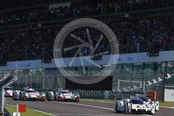 World © Octane Photographic Ltd. FIA World Endurance Championship (WEC), 6 Hours of Nurburgring , Germany - Race, Sunday 30th August 2015. The Porsche Team – Porsche 919 Hybrids - LM LMP1 of Romain Dumas, Neel Jani and Marc Lieb and Timo Bernhard, Mark Webber and Brendon Hartley ahead of the Audi Sport Team Joest- Audi R18 e-tron Quatrros of Andre Lotterer, Benoit Treluyer and Marcel Fassler and Oliver Jarvis, Lucas di Grassi and Loic Duval. Digital Ref : 1398LB1D6302