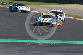 World © Octane Photographic Ltd. FIA World Endurance Championship (WEC), 6 Hours of Nurburgring , Germany - Race, Sunday 30th August 2015. AF Corse – Ferrari F458 Italia GT2 - LMGTE Pro – Davide Rigon and James Calado ahead of Porsche Team Manthey - Porsche 911RSR - LMGTE Pro – Patrick Pilet and Frederick Makowiecki and Richard Lietz and Michael Chistensen. Digital Ref : 1398LB1D6448