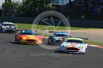 World © Octane Photographic Ltd. FIA World Endurance Championship (WEC), 6 Hours of Nurburgring , Germany - Race, Sunday 30th August 2015. Aston Martin Racing – Aston Martin Vantage V8 - LMGTE Pro – Darren Turner, Stefan Mucke and Jonathan Adam thenFernando Rees, Alex MacDowell and Richie Stanaway and Dempsey-Proton Racing – Porsche 911 RSR - LMGTE Am – Patrick Dempsey, Patrick Long and Marco Seefried. Digital Ref : 1398LB1D6457