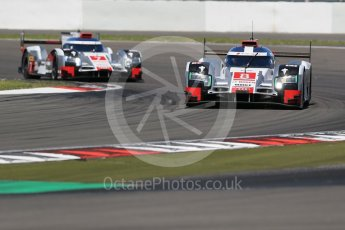 World © Octane Photographic Ltd. FIA World Endurance Championship (WEC), 6 Hours of Nurburgring , Germany - Race, Sunday 30th August 2015. Audi Sport Team Joest- Audi R18 e-tron Quatrro - LMP1 - Oliver Jarvis, Lucas di Grassi and Loic Duval ahead of Andre Lotterer, Benoit Treluyer and Marcel Fassler. Digital Ref : 1398LB1D6869