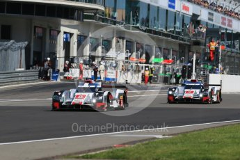 World © Octane Photographic Ltd. FIA World Endurance Championship (WEC), 6 Hours of Nurburgring , Germany - Race, Sunday 30th August 2015. Audi Sport Team Joest- Audi R18 e-tron Quatrro - LMP1 - Oliver Jarvis, Lucas di Grassi and Loic Duval ahead of the sister car of Andre Lotterer, Benoit Treluyer and Marcel Fassler. Digital Ref : 1398LB1D7132