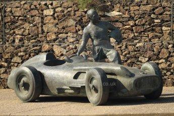 World © Octane Photographic Ltd. Juan Manual Fangio Tribute statue. Thursday 19th February 2015, F1 Winter testing, Circuit de Catalunya, Barcelona, Spain, Day 1. Digital Ref:1187CB7B0551