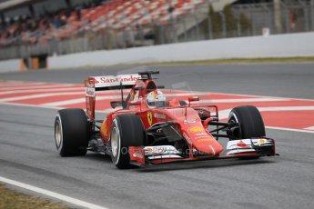 World © Octane Photographic Ltd. Scuderia Ferrari SF15-T– Sebastian Vettel. Saturday 21st February 2015, F1 Winter testing, Circuit de Barcelona Catalunya, Spain, Day 3. Digital Ref: 1190CB1L7884
