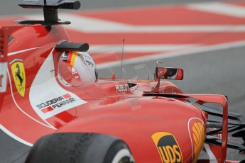 World © Octane Photographic Ltd. Scuderia Ferrari SF15-T– Sebastian Vettel. Saturday 21st February 2015, F1 Winter testing, Circuit de Barcelona Catalunya, Spain, Day 3. Digital Ref: 1190CB1L8014