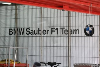 World © Octane Photographic Ltd. Sauber F1 Team - re-using an old BMW era garage backdrop. Saturday 21st February 2015, F1 Winter testing, Circuit de Barcelona Catalunya, Spain, Day 3. Digital Ref : 1190CB1L8060