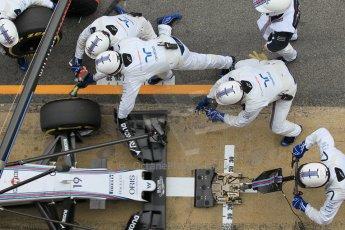 World © Octane Photographic Ltd. Williams Martini Racing FW37 – Felipe Massa practice pitstop. Saturday 21st February 2015, F1 Winter testing, Circuit de Barcelona Catalunya, Spain, Day 3. Digital Ref: 1190CB1L8088