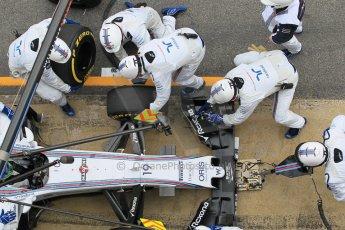 World © Octane Photographic Ltd. Williams Martini Racing FW37 – Felipe Massa practice pitstop. Saturday 21st February 2015, F1 Winter testing, Circuit de Barcelona Catalunya, Spain, Day 3. Digital Ref: 1190CB1L8094