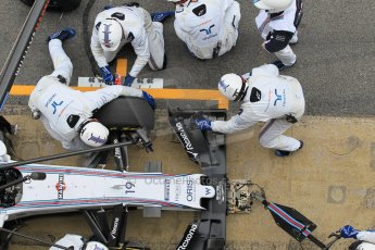 World © Octane Photographic Ltd. Williams Martini Racing FW37 – Felipe Massa practice pitstop. Saturday 21st February 2015, F1 Winter testing, Circuit de Barcelona Catalunya, Spain, Day 3. Digital Ref: 1190CB1L8105