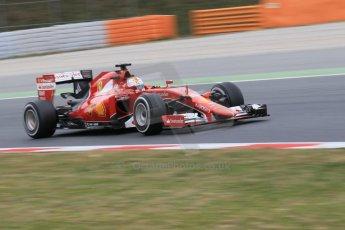 World © Octane Photographic Ltd. Scuderia Ferrari SF15-T– Sebastian Vettel. Saturday 21st February 2015, F1 Winter testing, Circuit de Barcelona Catalunya, Spain, Day 3. Digital Ref: 1190CB1L8328