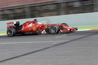 World © Octane Photographic Ltd. Scuderia Ferrari SF15-T– Sebastian Vettel. Saturday 21st February 2015, F1 Winter testing, Circuit de Barcelona Catalunya, Spain, Day 3. Digital Ref: 1190CB1L8405
