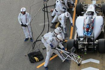 World © Octane Photographic Ltd. Williams Martini Racing FW37 – Valtteri Bottas practice pitstop Saturday 21st February 2015, F1 Winter testing, Circuit de Barcelona Catalunya, Spain, Day 3. Digital Ref: 1190CB1L8560