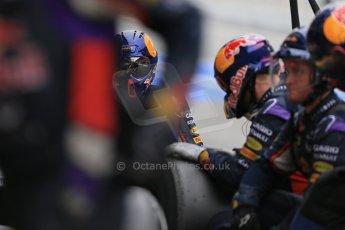 World © Octane Photographic Ltd. Infiniti Red Bull Racing RB11 – Daniil Kvyat - Pit crew. Saturday 21st February 2015, F1 Winter testing, Circuit de Catalunya, Barcelona, Spain, Day 3. Digital Ref : 1190LB1D8226