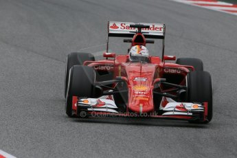 World © Octane Photographic Ltd. Scuderia Ferrari SF15-T– Sebastian Vettel. Saturday 21st February 2015, F1 Winter testing, Circuit de Catalunya, Barcelona, Spain, Day 3. Digital Ref: 1190LB1D8539