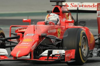 World © Octane Photographic Ltd. Scuderia Ferrari SF15-T– Sebastian Vettel. Sunday 1st March 2015, F1 Winter test #3, Circuit de Barcelona-Catalunya, Spain Test 2 Day 4. Digital Ref: 1195CB1L3767