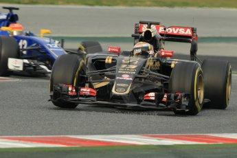 World © Octane Photographic Ltd. Lotus F1 Team E23 Hybrid – Pastor Maldonado and Sauber F1 Team C34-Ferrari – Felipe Nasr. Sunday 1st March 2015, F1 Winter test #3, Circuit de Barcelona-Catalunya, Spain Test 2 Day 4. Digital Ref: 1195CB1L3811