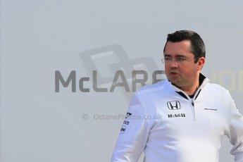 World © Octane Photographic Ltd. McLaren Honda - Eric Boullier. Saturday. Sunday 1st March 2015, F1 Winter test #3, Circuit de Barcelona-Catalunya, Spain Test 2 Day 4. Digital Ref: 1195CB1L4545