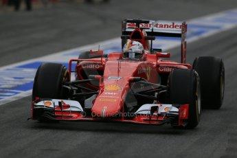 World © Octane Photographic Ltd. Scuderia Ferrari SF15-T– Sebastian Vettel. Sunday 1st March 2015, F1 Winter test #3, Circuit de Barcelona-Catalunya, Spain Test 2 Day 4. Digital Ref: 1195LB1D3293