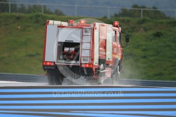 World © Octane Photographic Ltd. Pirelli wet tyre test, Paul Ricard, France. Monday 25th January 2016. Deluge system getting help by support vehicles. Digital Ref: 1498CB1D8680