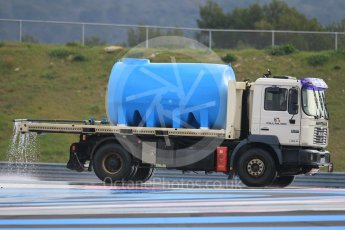 World © Octane Photographic Ltd. Pirelli wet tyre test, Paul Ricard, France. Monday 25th January 2016. Deluge system getting help by support vehicles. Digital Ref: 1498CB1D8684