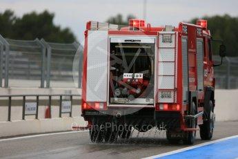 World © Octane Photographic Ltd. Pirelli wet tyre test, Paul Ricard, France. Monday 25th January 2016. Paul Ricard fire truck wetting the pit lane. Digital Ref: 1498LB5D5177